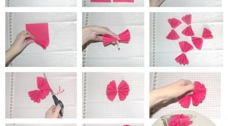 apprends en 10 secondes faire des pompons avec des serviettes en papier id e d co mariage. Black Bedroom Furniture Sets. Home Design Ideas