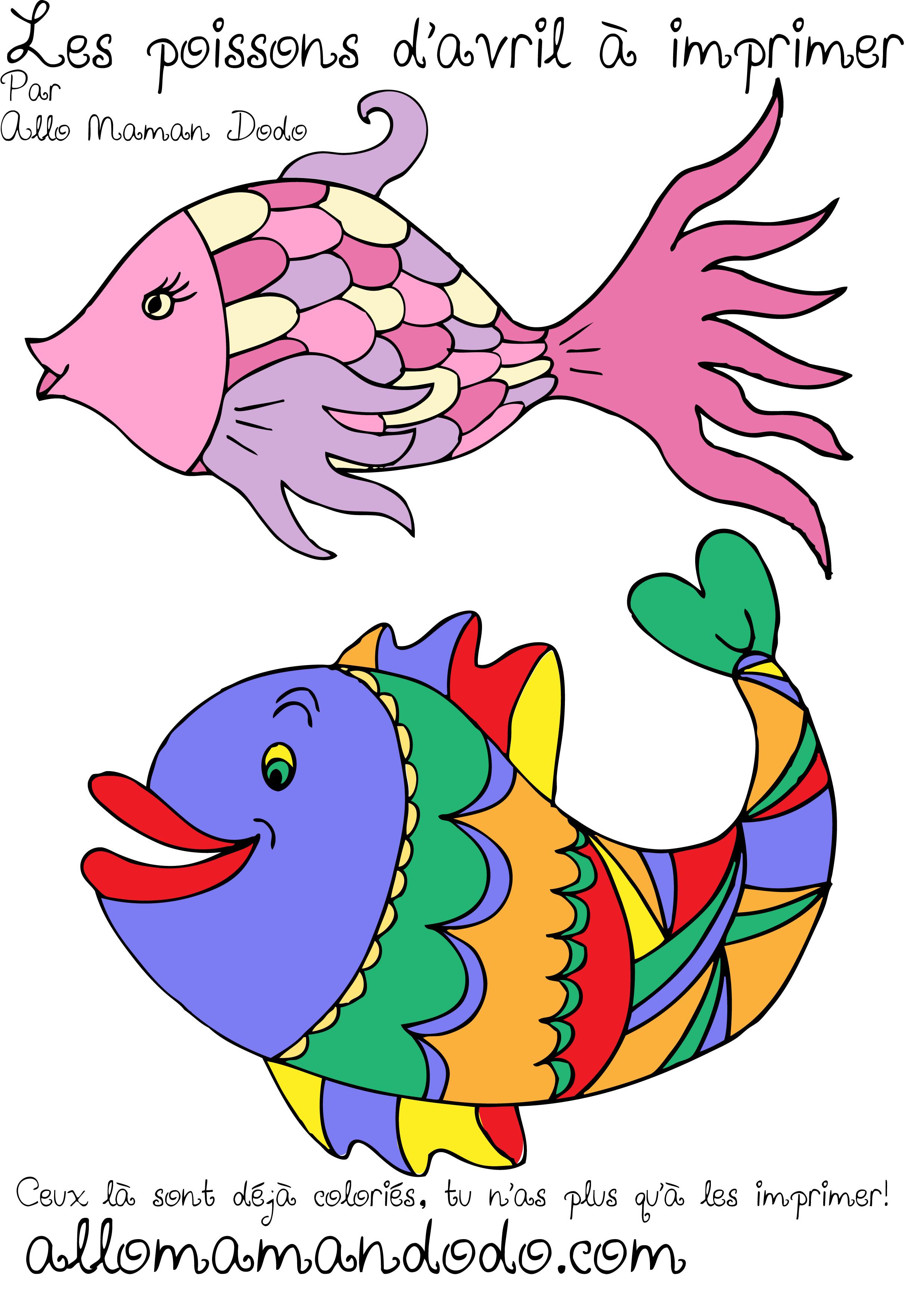 Des poissons imprimer colorier et accrocher poisson d 39 avril allo maman dodo - Poisson dessin couleur ...
