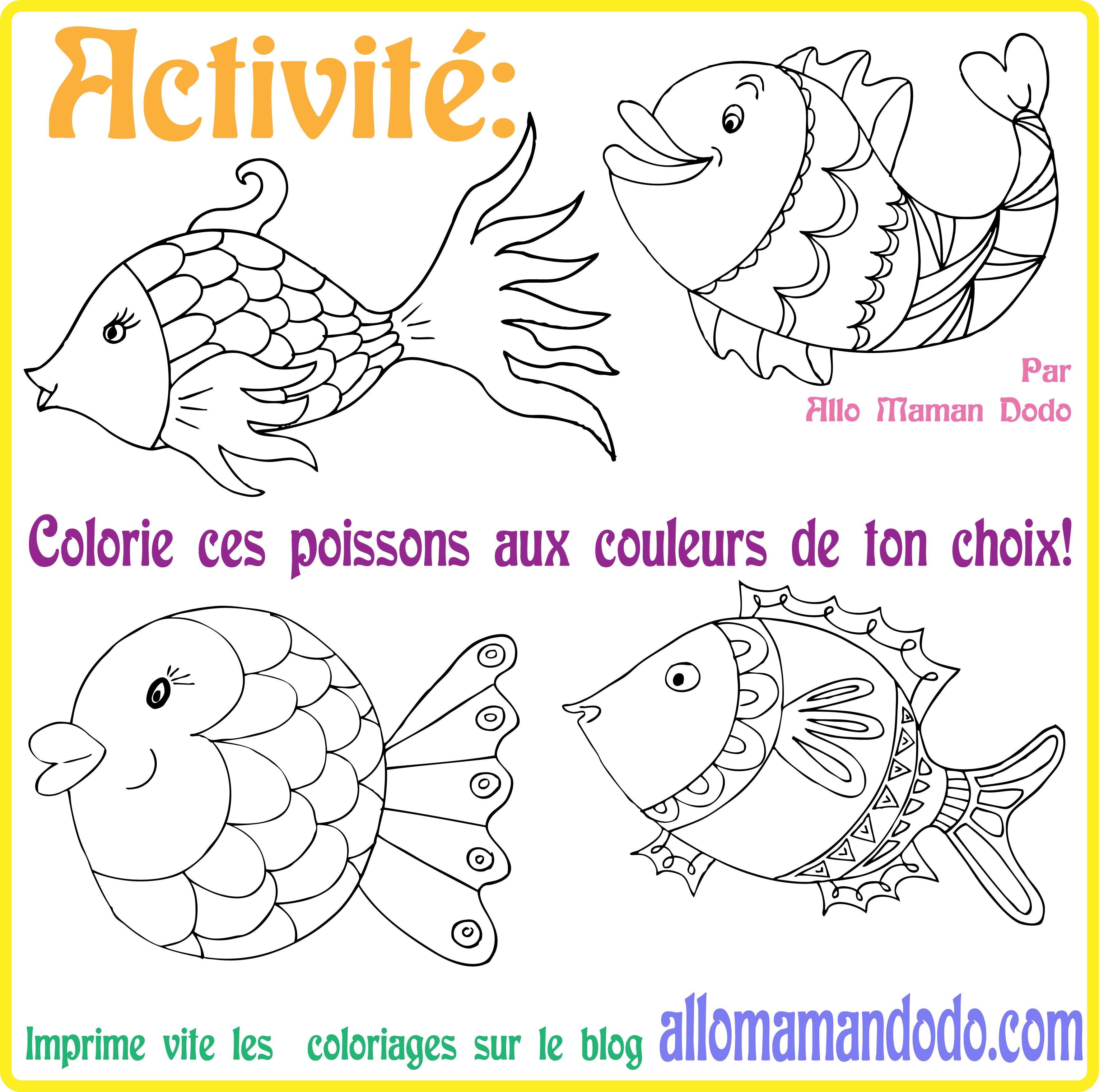 Des Poissons à Imprimer Colorier Et Accrocher Poisson D