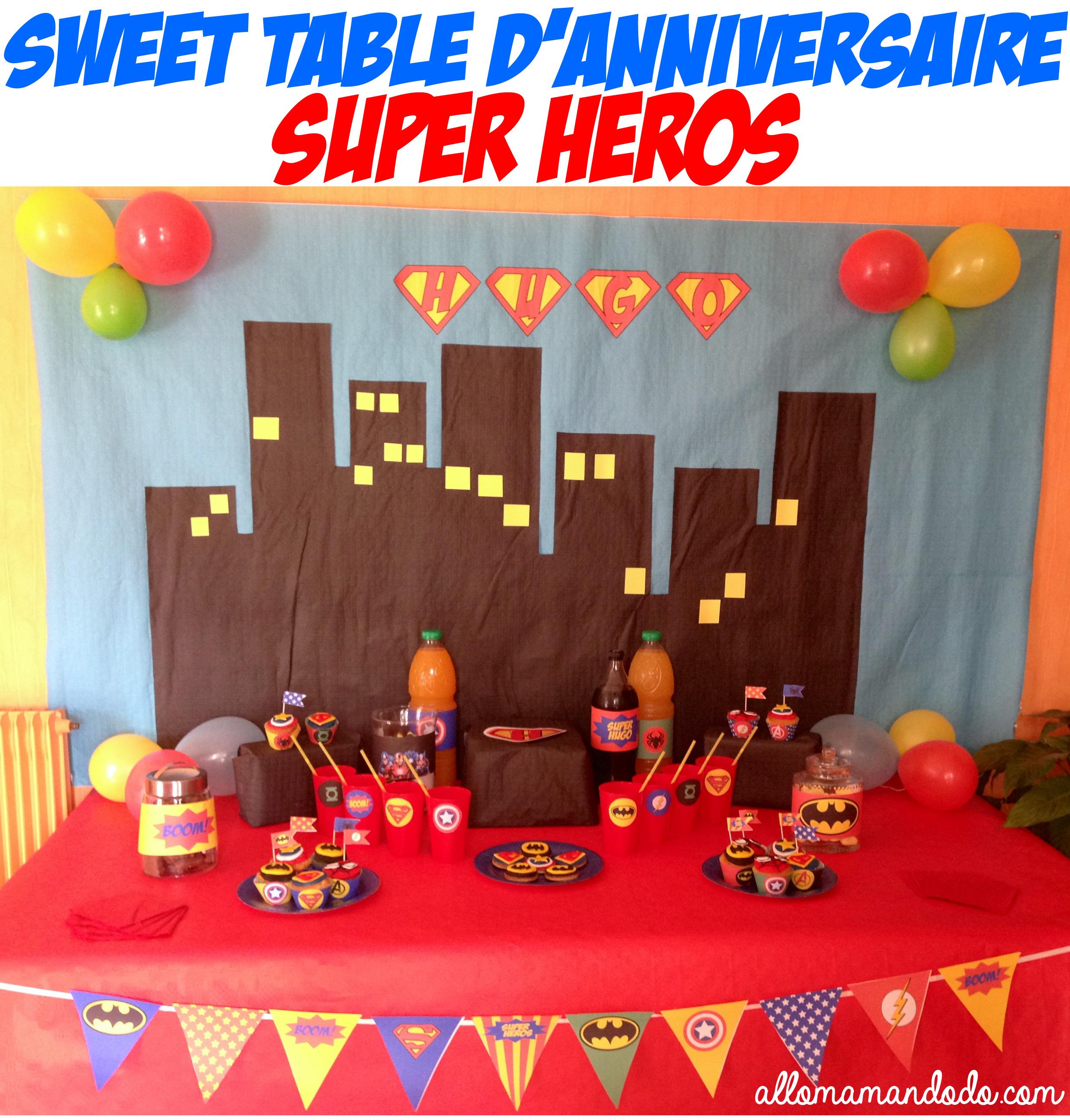 un anniversaire de super-héros! (déco / sweet table / kit à imprimer