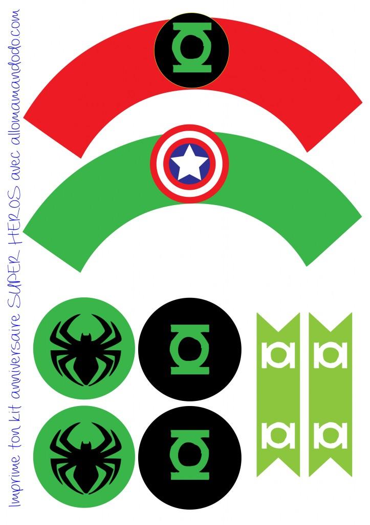 papiers déco hulk spiderman