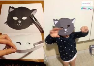 masque chat halloween papier