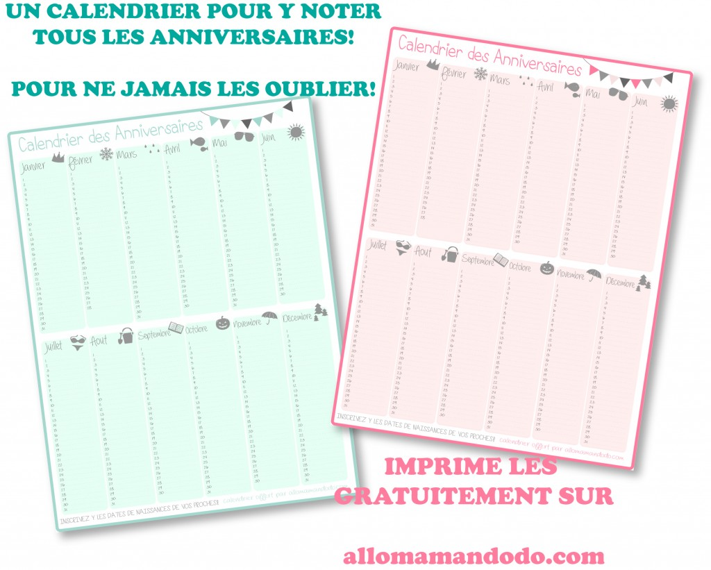 calendriers anniversaires