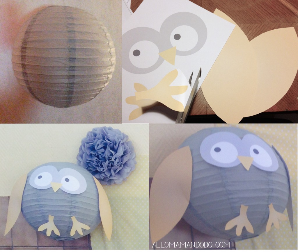 Diy suspension hibou pour une joli d co de chambre allo maman dodo - Plafonnier boule chinoise ...