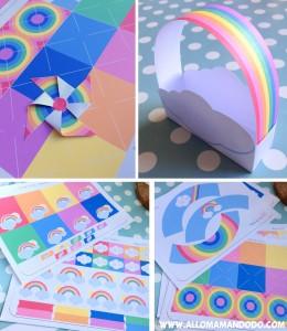 kit a imprimer arc-en-ciel rainbow