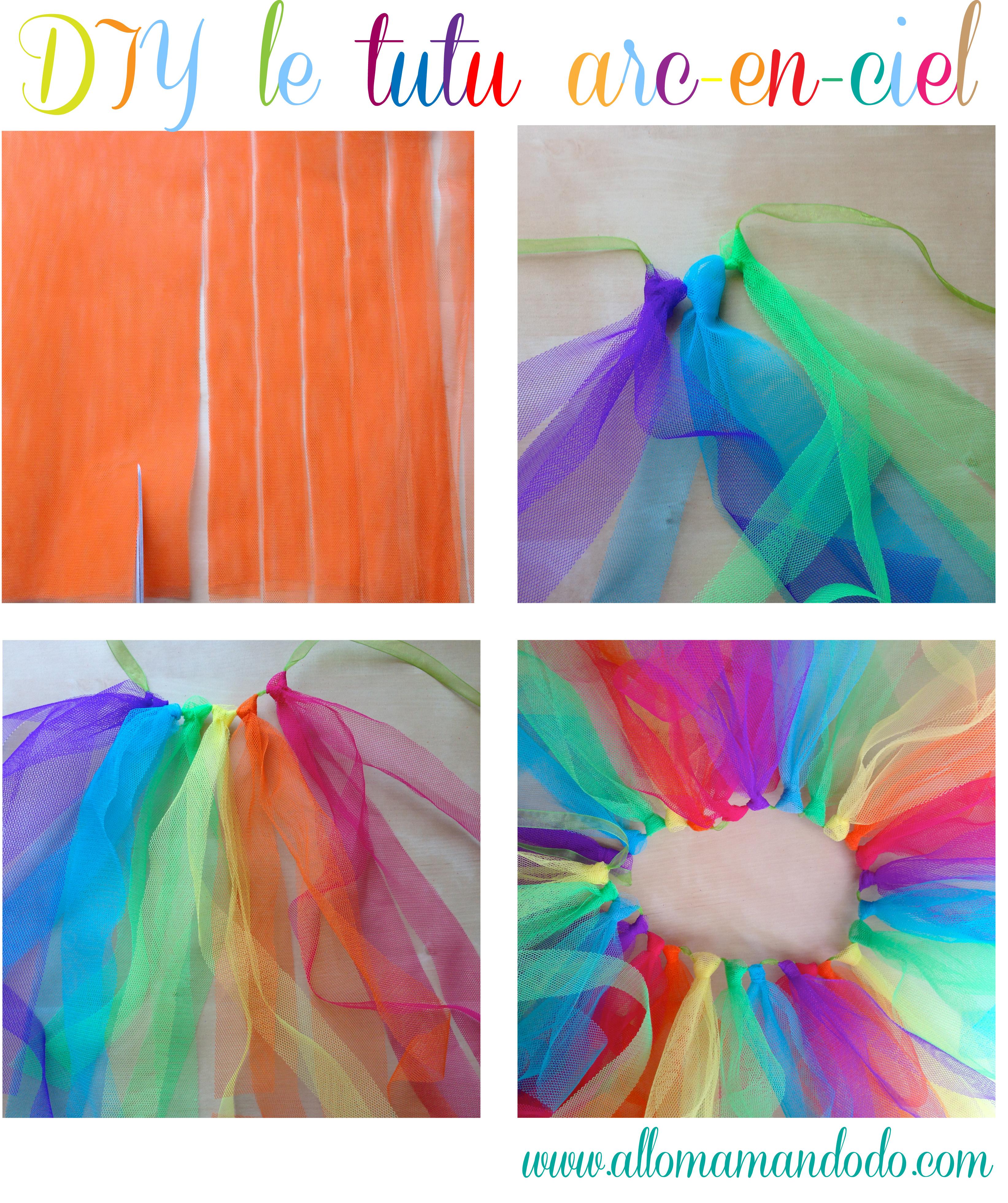 Diy le tutu arc en ciel de sa rainbow party allo maman dodo - Faire un tutu pour adulte ...