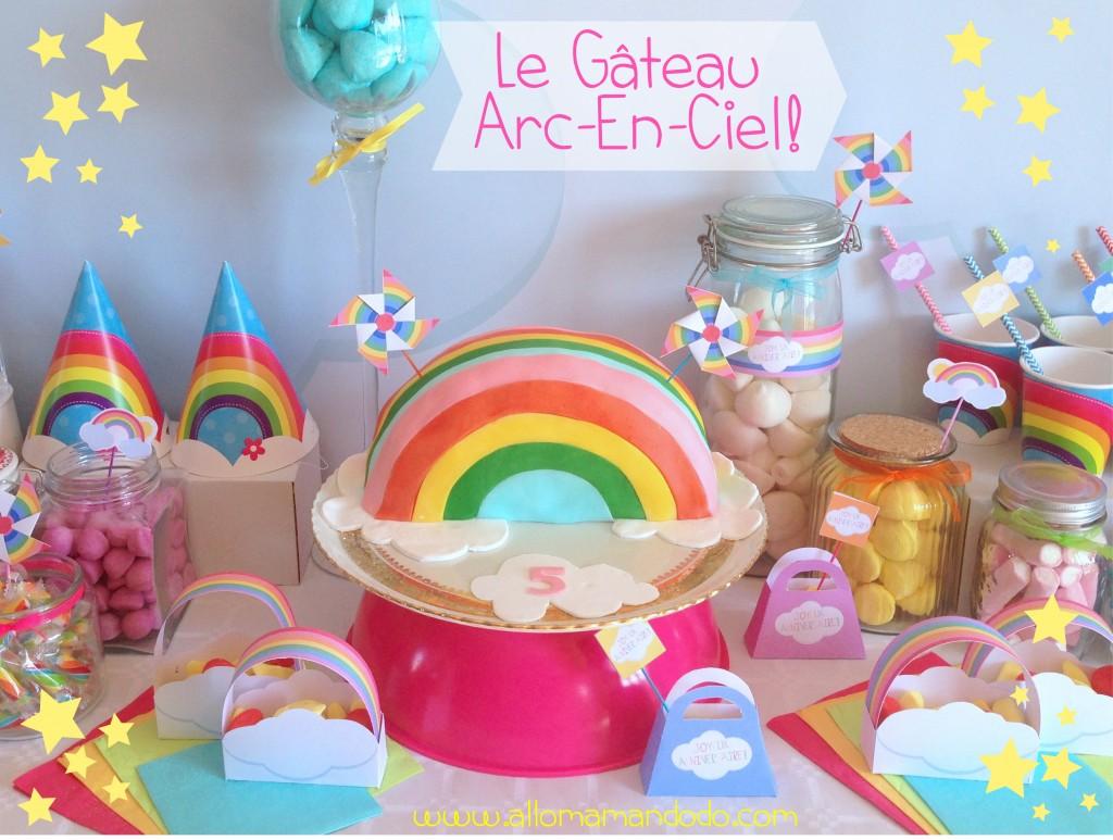 gâteau arc-en-ciel rainbow cake party anniversaire