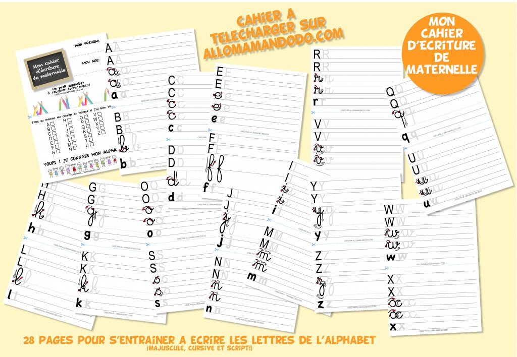 fiches ecriture alphabet