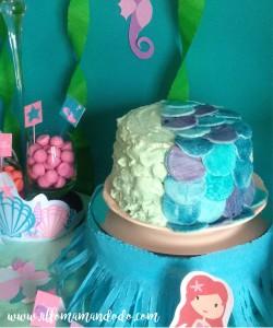 gateau sirène anniversaire bleu