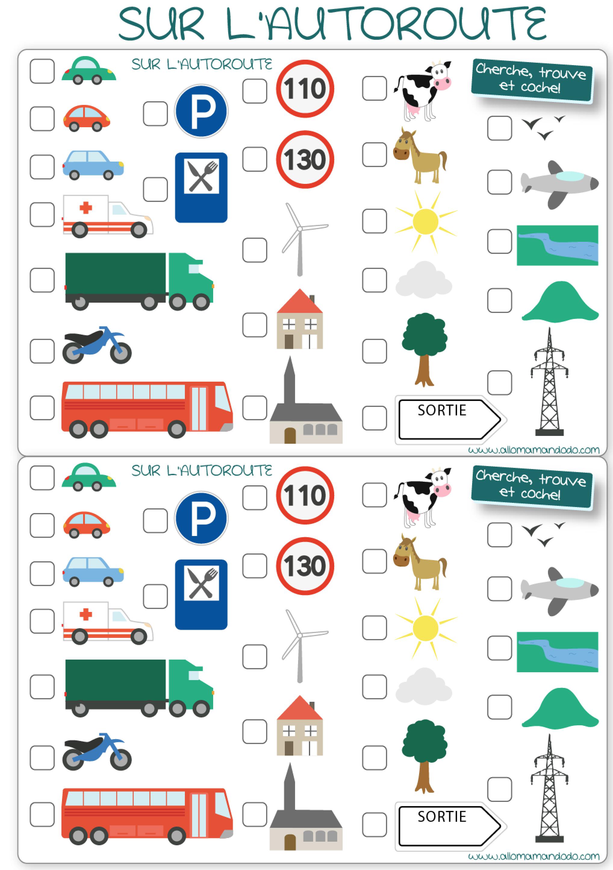 les occuper en voiture jeux de voyage bingo de la route imprimer allo maman dodo. Black Bedroom Furniture Sets. Home Design Ideas