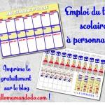 Semainier / Emploi du temps à personnaliser pour l'école! (Imprime le gratuitement!)