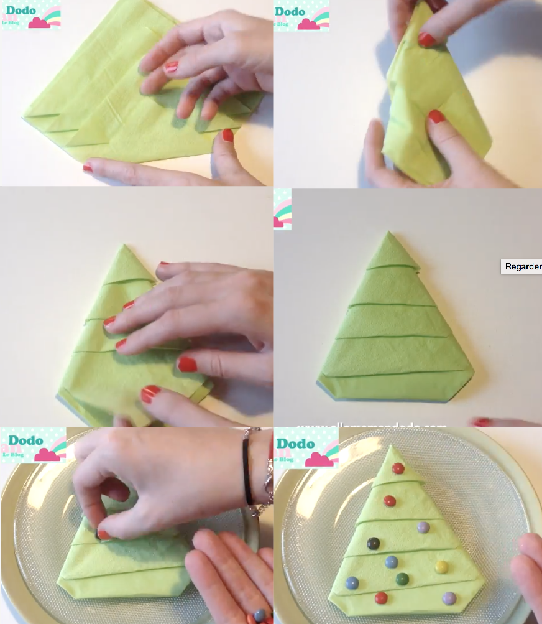 tutoriel sapin noel serviette table fete enfants