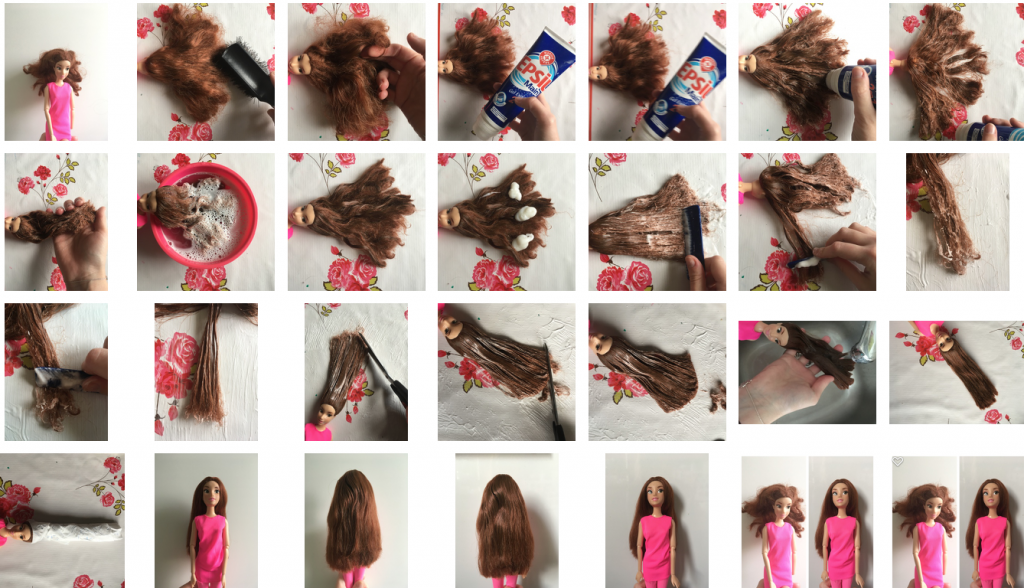 démêlage cheveux barbie