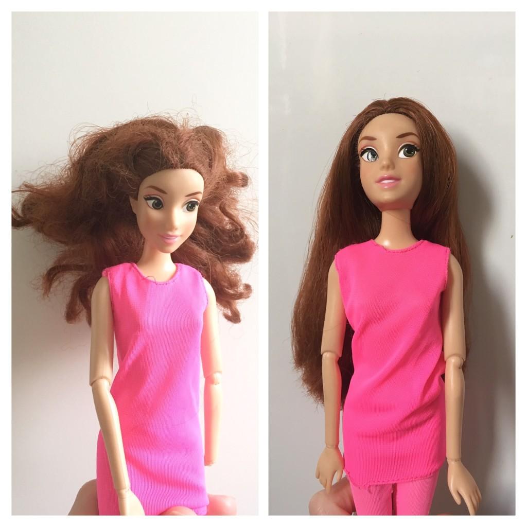 barbie cheveux avant après