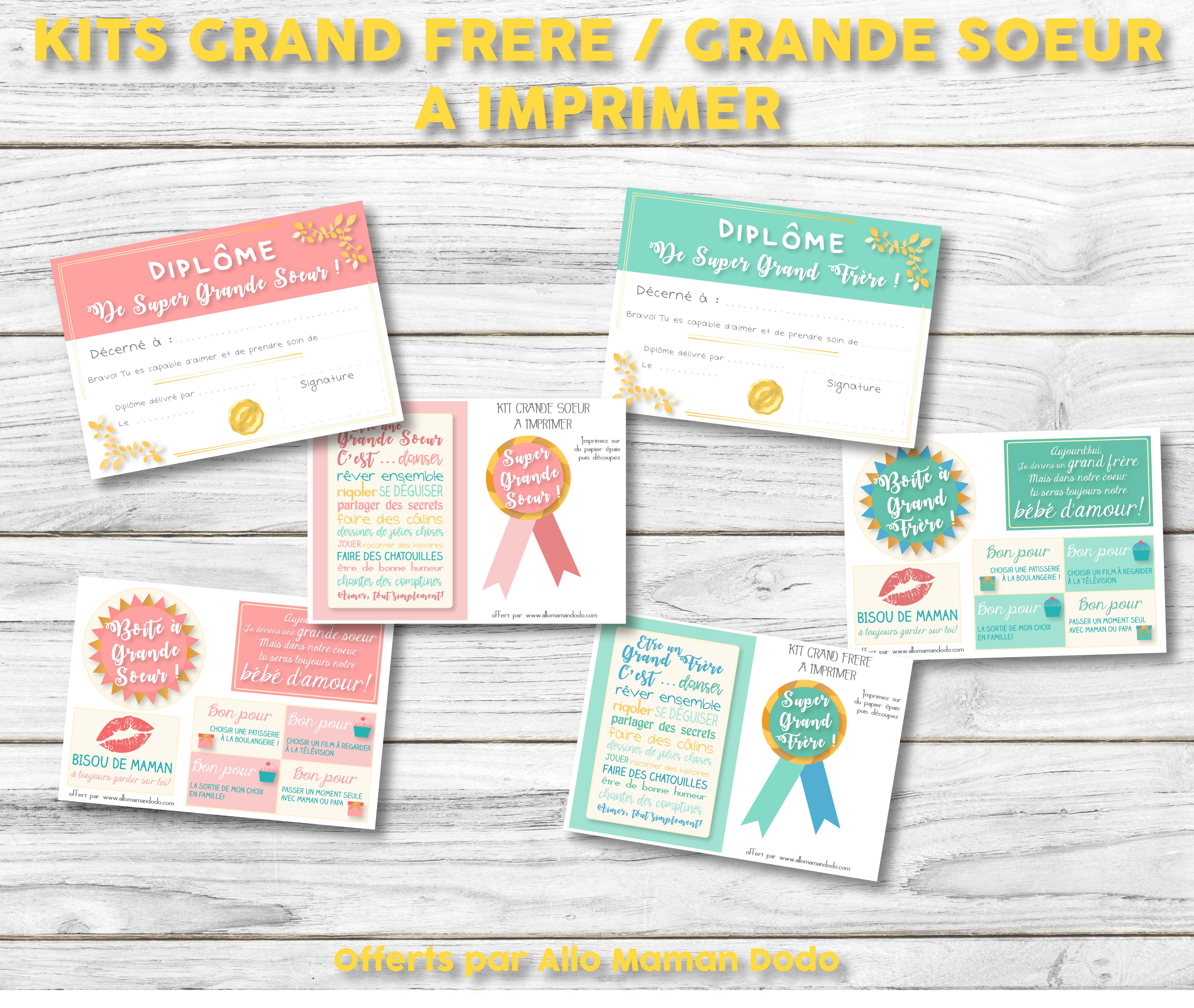 Kit A Imprimer Grande Soeur Grand Frere Diplome