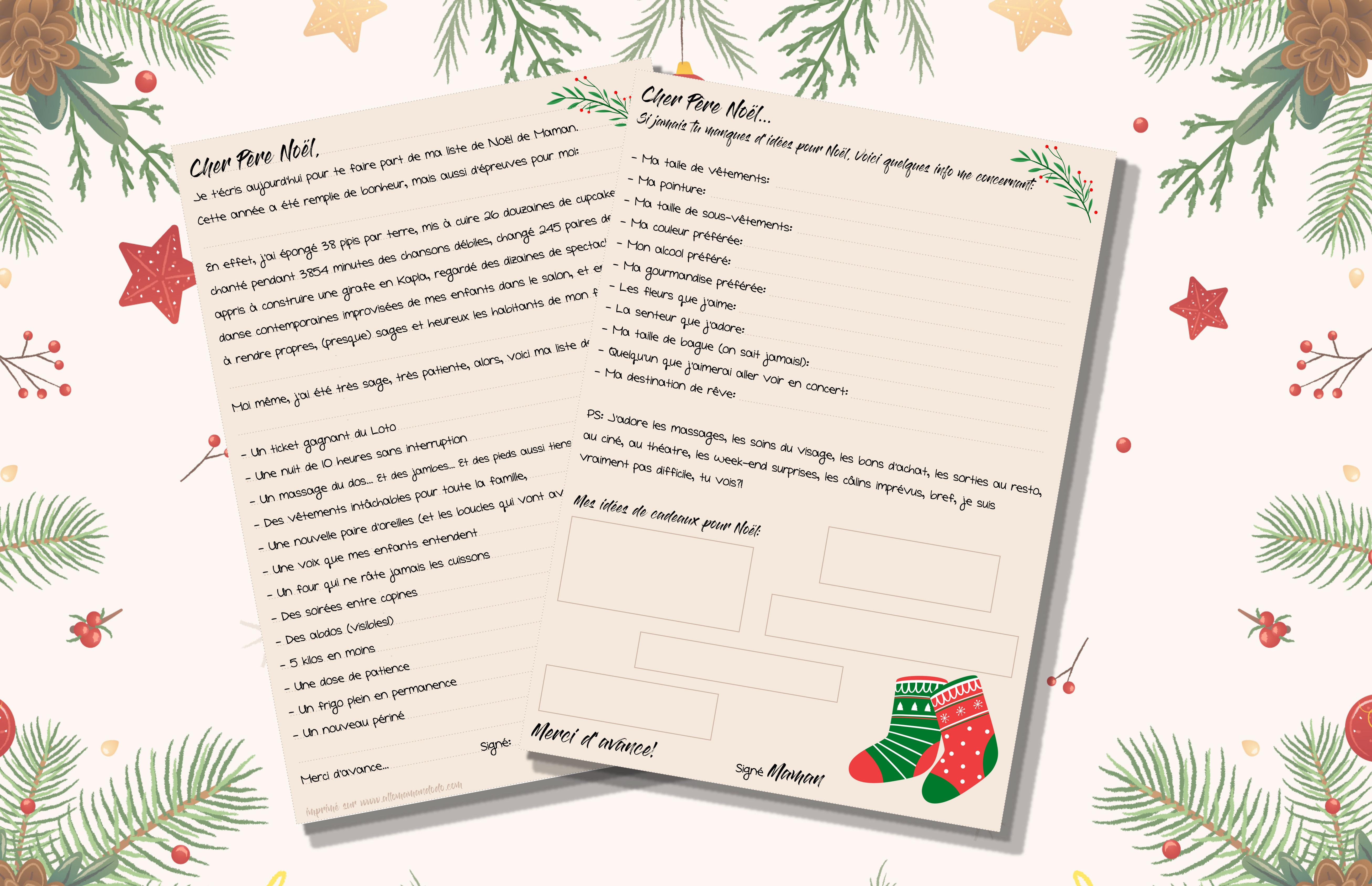 Lettre De Noël Spéciale Mamans à Imprimer Allo Maman Dodo