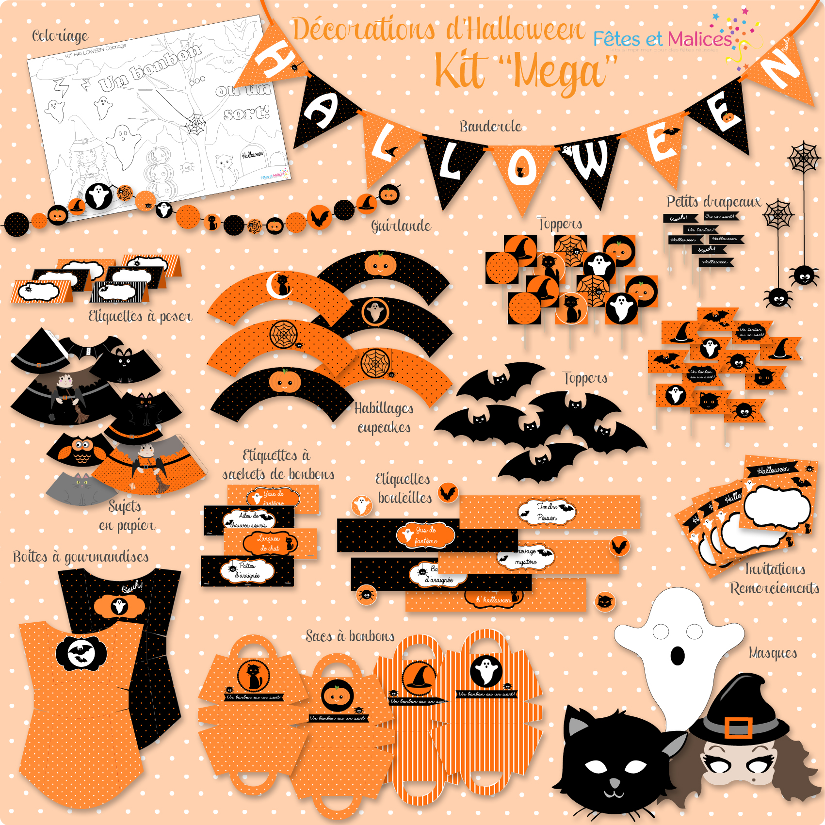 Kit d co d 39 halloween imprimer printable sweet table - Comment faire des decoration d halloween ...