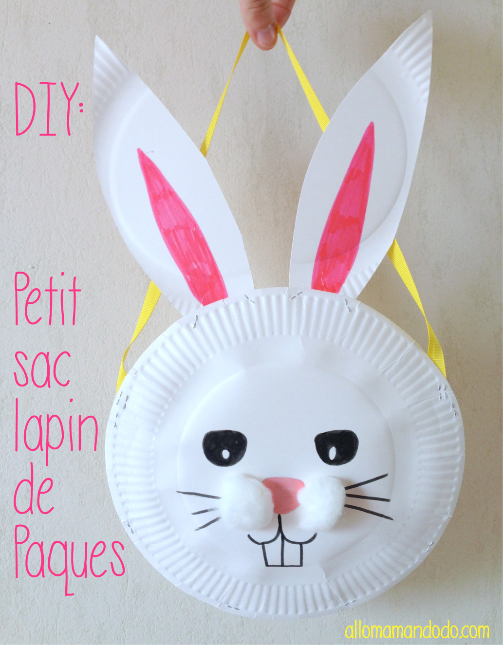 diy petit sac lapin de p ques avec des assiettes en. Black Bedroom Furniture Sets. Home Design Ideas