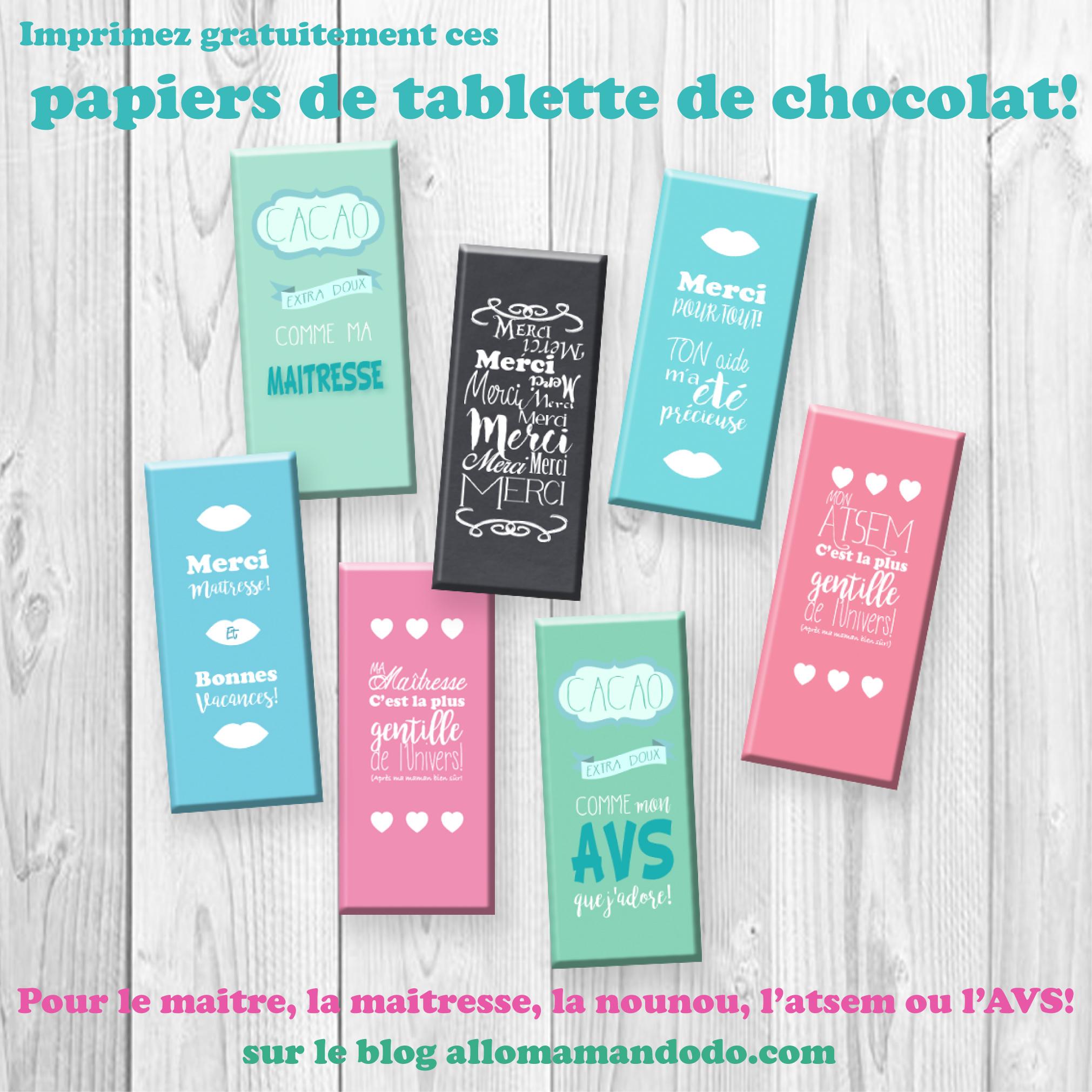 cadeau des maitresses atsem avs des tablettes de chocolat avec papier a imprimer allo. Black Bedroom Furniture Sets. Home Design Ideas